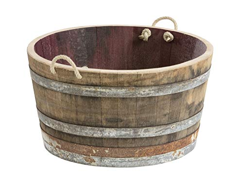 Holzfass, Weinfass halbiert aus Eichenholz rustikal -als Pflanzkübel oder Miniteich (mit Halteschlaufen und Rollen)