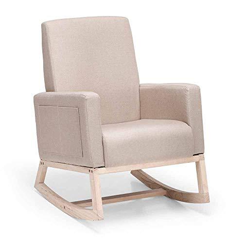 Nursery Rocking Chair Modern High Back Rocking Chair Heavy Duty Leisure Chair Beige