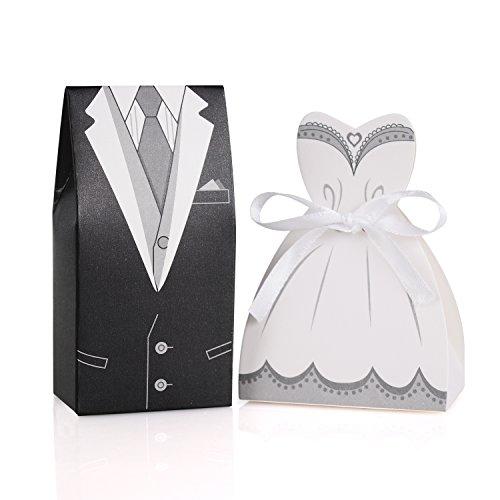 Wolfteeth 100 Pezzi Bomboniere Portaconfetti Porta Confetti Scatola di Caramelle per Matrimonio Decorazioni 50 pz Sposo e 50 pz Sposa