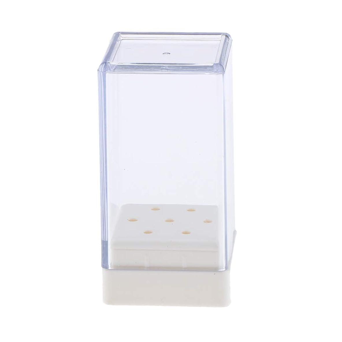 ベアリングやりすぎ出力Sharplace ネイルドリルビット ホルダー ネイルアート 収納ボックス クリア アクリル 6.5*3.2cm 7穴