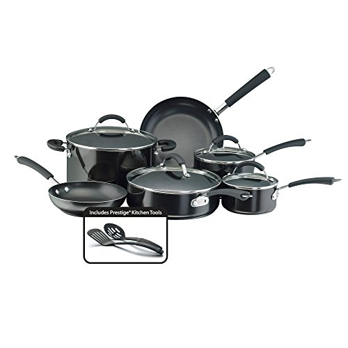 Farberware Millennium Nonstick Cookware Pots and Pans Set, 12 Piece, Black