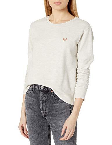 True Religion Women's Long Sleeve Core Buddha Pullover Sweater, Heather Oatmeal, XS