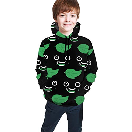 Funny Cool Pullover Hoodie Hooded Sweatshirt for Boys Girls Teens Junior, Long Sleeves Fitted 3D Pattern Print Sports Outwear (Guava Juice Leaf Hoodies)