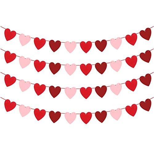 Heart Garland Decorations for Valentines Decor - Red,Rose Red Pink Color, NO DIY | Valentines Heart Banner for Valentines Decorations, Anniversary | Love Felt Valentine Garland for Room and Fireplace