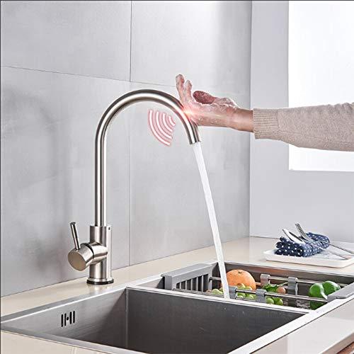 Grifo de la cocina Toque inteligente cepillado en el sensor del grifo de la cocina Rotación 360 Extraíble Grifo mezclador de una sola manija Dos modos de agua Grúa para fregadero Caliente Frío
