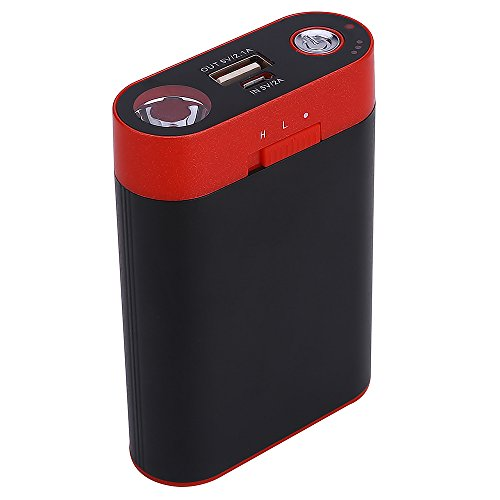 Alfway 3-in-1 Rechargeable 7800mAh Electric Hand Warmer/Power Bank/Flashlight with Two Heating...