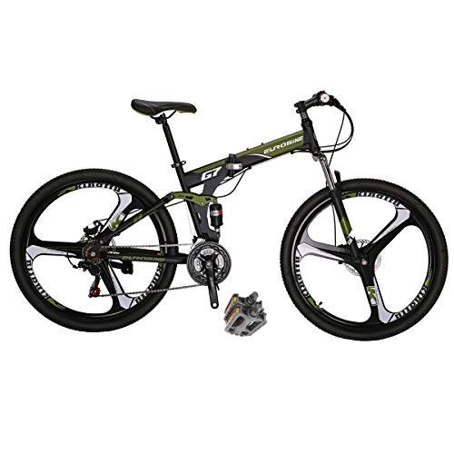 Eurobike Dual Suspension Folding Mountain Bikes G7 27.5 Inches 3 Spoke Wheel Mountain Bike 21 Speed Bicycle Green