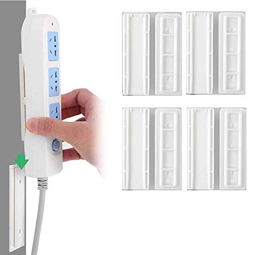 VELINEX Power Strip Fixator Self Adhesive Power Strip Fixator Socket Holder Mount Punch-Free Wall-Mounted Desktop Socket Fixer Organizer. (Pack of 4 PCS)