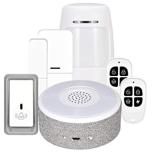 TTLIFE Kabelloses Alarmanlage, Smart Home Alarmanlage, Sicherheit, 6-teiliges Set (Alarmstation und Türsensoren), Fensteralarm, Türalarm, App-Alarm über Mobiles Netzwerk