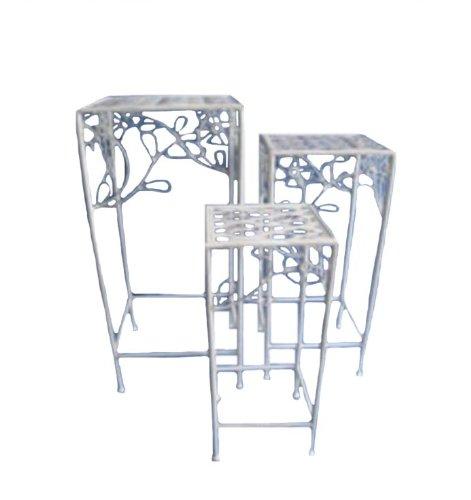 Transcontinental Inspecteur en métal 3 pièces Pieds de Plante, Blanc