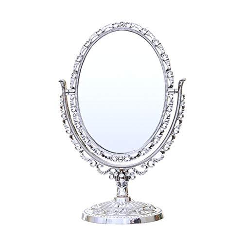 Lurrose Mesa Vintage Espejo Doble Lado Giratorio Estilo Europeo Maquillaje Espejo de Tocador Espejo Cosmético Espejo Regalo para Mujeres Damas Niñas (Plata)