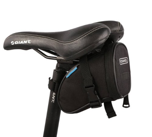 ROSWHEEL サドルバッグ 自転車 サイクリング かんたん装着 全4色 (ブラック)