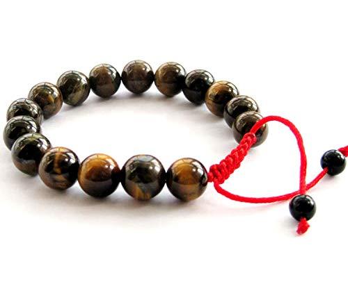 Tiger Eye Gem Beads Tibetan Buddhist Prayer Mala Bracelet
