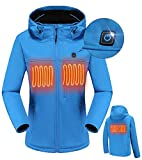 MYHEAT MH Men's Heated Jacket Soft Shell Electric Heated Jacket with Detachable Hood and Battery Pack Blue M
