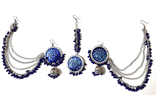 Indian Bollywood Ethnic Traditional Fashion Silver Oxidized Beads Afghani Boho Gypsy Tribal Maang Tika Jhumka Dangle Bahubali Chain Earrings Head Jewellery Blue