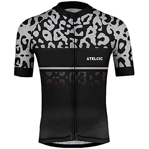 Atelcic Maglia per ciclismo, mountain bike, spinning, ciclismo su strada, a maniche corte, estiva, per uomo e donna, Unisex - Adulto, Leopardo grigio, M