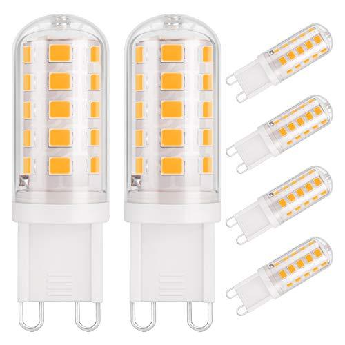 DiCUNO Ampoule LED G9 3W, 430LM, équivalen 40W halogène, Blanc chaud 3000K, 220-240V, CRI  85, NON-Dimmable, Économie d énergie, Base en céramique, Culot G9 Standard, Lot de 6