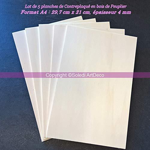 Lot de 5 Planches de Contreplaqué Bois peuplier épaisseur 4mm, Plaque Format A4