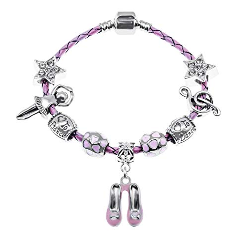 Braccialetto in pelle rosa con charm a forma di ballerina, in sacchetto regalo di alta qualità, placcato argento, cod. BRBALLERINAGIRL-17
