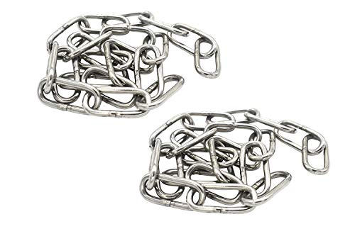 Bytiyar 2 pcs Stainless Steel Safety Chains 20in (L) x 0.12in (T) Long Link Chain Rings Light Duty Coil Chain for Hanging Pulling Towing