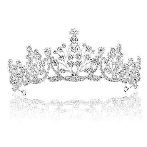 ZWOOS Kristallkrone Tiara, Hochzeit Braut Strass Krone, Kristalle Prinzessin Krone Diadem für Bridal Crown Hochzeit Abschlussball Party Geburtstag