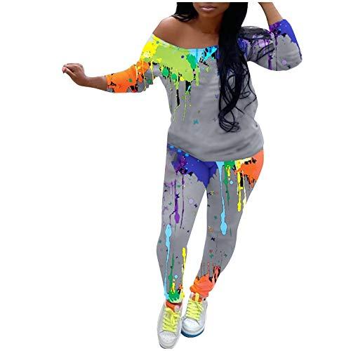 Women 2 Piece Outfits Graffiti Print One Off Shoulder Long Sleeve Tracksuit Set Sportswear Jogger Pants Suit Gray