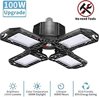 LED Garage Light, Upgrade Deformable 4 Panels 10000LM E26 Garage Ceiling Lighting,100W LED Adjustable Aluminum Wing Commercial Light, Shop Light, Barn Light, Warehouse Ceiling Lighting