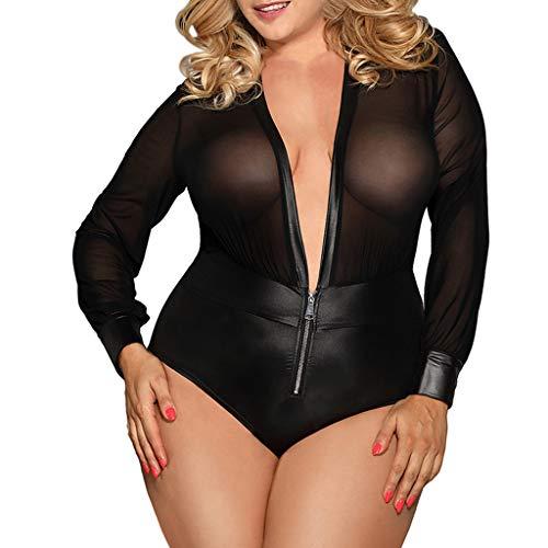KIMODO Sexy Sexy Talla Grande Halter Lencería Erotica Atractiva Mujer Transparentee Negro Wet Look Bondage Lencería