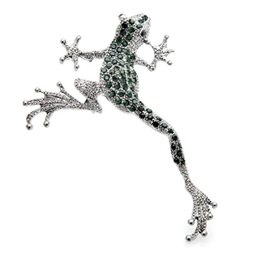 Green Rhinestone Frog Brooches Metal Lovely Jumping Frog Animal Brooch Pins Gifts-Default