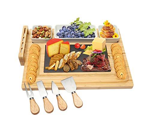 Nwvuop Bambus-Käsebrett und Messer-Set mit 3 Keramik-Schalen, Bambus-Käseplatte, Servierbretter, Käsebrett, Geschenk-Set