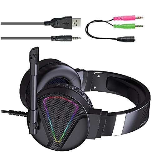 Auricolare cablato pieghevole, calcolatore illuminato RGB HiFi Auricolare in-ear con interfaccia da 3,5 mm