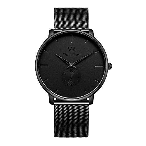 Vigor Rigger Reloj de Cuarzo para Hombre y Mujer, Reloj de Pulsera Ultra Fino Negro para Hombre con Diseño Minimalista clásico con Calendario de Fecha