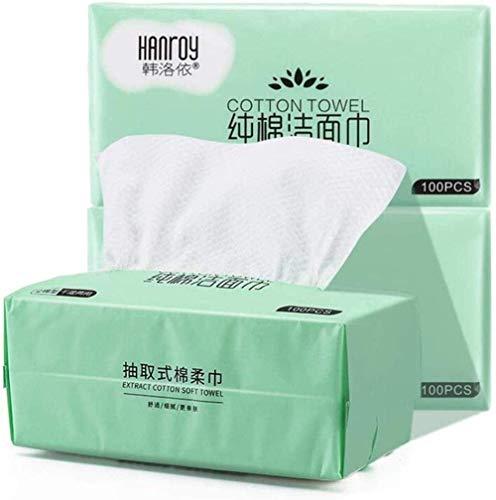 Serviette de visage jetable en coton doux pour le visage, serviette en tissu non tissé, jetable pour le visage, maquillage du visage, coussin doux (3 paquets) de tissu facial Cxjff