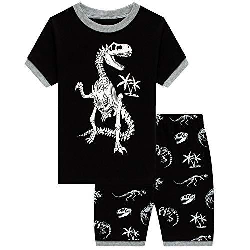 Jungen Schlafanzug Kinder Im Dunkeln leuchtender Dinosaurier Pyjamas Sets Zweiteiliger Schlafanzug Kleinkind Pjs Nachtwäsche(Dinosaurier-5T-6192)