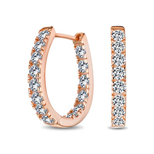 Wedding Classic Bridal Oval Shape Medium Size Continuous Inside Out AAA CZ Hoop Earrings Of Women Prom Party Pageant Cubic Zirconia Black Rose Gold Plaqué 925 Sterling Silver .60 Inch Dia