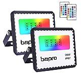 2X20W RGB Foco LED con Control Remoto, Foco Proyector Exteriores Interior IP67 Impermeable LED Reflecto 16 colores 4 modos Luces de Humor para Fiesta Jardín Halloween, Decoración Navideña