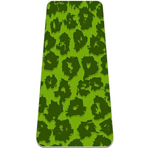 Alfombra de yoga negra con estampado de leopardo verde, respetuosa con el medio ambiente, antideslizante, alfombrilla de entrenamiento para yoga, pilates y ejercicios de piso 72 x 32 pulgadas
