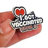 6個私は予防接種を受けた受信者への通知を受け取りました公衆衛生記念ピン予防接種記念ロゴバッジ男性/女性のブローチまたは医師、看護師、接種者などのために