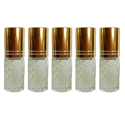 FLAMEER 5pcs Vide Mini Bouteilles Rechargeables D' Essentielle De Rouleau De Parfum Rechargeable 5ml