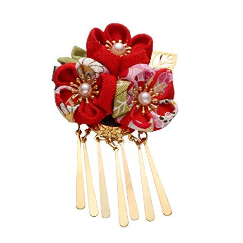 Minkissy Japanese Hair Clips, Kimono Flower Hair Clip Kimono Hair Accessories Hair Pins Kanzashi Hair Ornament Tie Band Clip (Red)