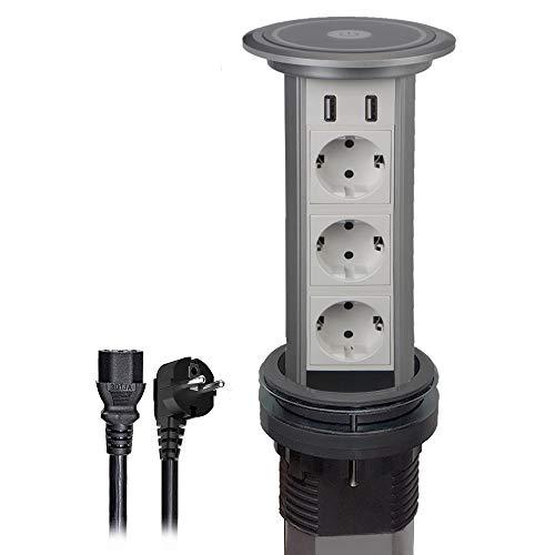 Regleta retráctil para mesa con 3 enchufes + 2 conexiones USB, enchufe...