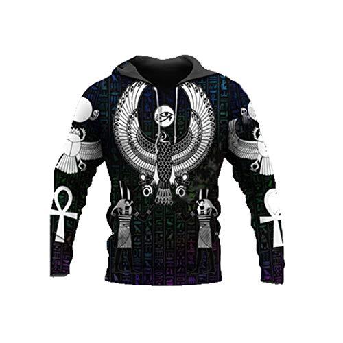 Geheimnisvoller Totem Retro Alter Gott Auge von Ägypten Pharao 3D-Druck Reißverschluss/Hoodies/Sweatshirts/Jacke Hoodies S
