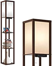 Outon Floor Lamp with Shelves, LED Column Modern Floor Lamp with USB Port & Power Outlet, Display Storage Wood Standing Light with White Linen Texture Shade for Living Room, Bedroom, Office (Walnut)