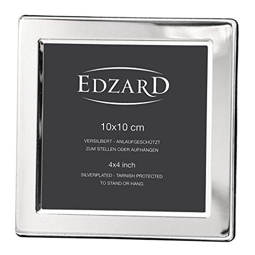 EDZARD Fotorahmen Salerno für Foto 10 x 10 cm, edel versilbert, anlaufgeschützt