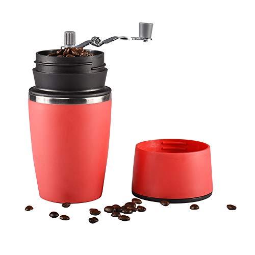 DKEyinx Handkaffeemühle mit Präzision Filter, Edelstahl Manuelle Kaffeemühlen für den Außenbereich, Leicht zu reinigen, 6,81 cm x 22,99 cm Rot