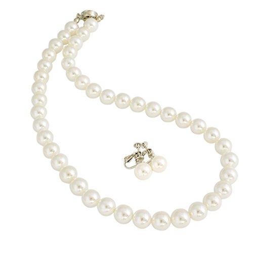 One&Only Jewellery 貝パール 10mm ネックレス & イヤリング 2点セット(ホワイト47cm×イヤリング)