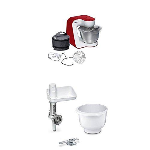 Bosch MUM54R00 Küchenmaschine StartLine Edelstahl-Rührschüssel, weiß / tiefrot + MUZ5BS1 Lifestyle Set BakingSensation mit Spritzgebäckvorsatz, Rührschüssel, Fleischwolf, weiß