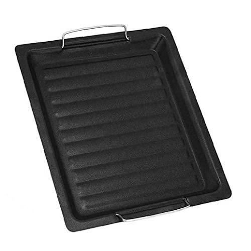 Långpanna Barbecue Plate med handtag Non Stick Roast Vegetabiliska Grill Pan Svart, till grillverktyg