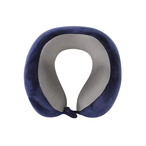 Alvnd Tragbare Reisekissen Memory Foam Nackenkissen Unterstützung Kopf und Kinn Flugzeug Geschäftsreise-Kissen, ergonomisches Design, Pillowcase waschbar (Color : Navy Blue, Size : 25 * 26 * 12 cm)
