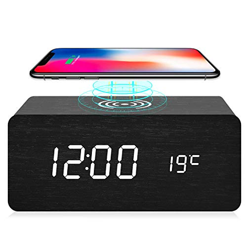 fomobest Wooden Alarm Clock with Wireless Charging for iPhone Samsung, Wood Digital LED Desk Clock for Bedroom, 3 Alarm Settings, Sound Control, Adjustable Brightness, Time Temperature (Black)
